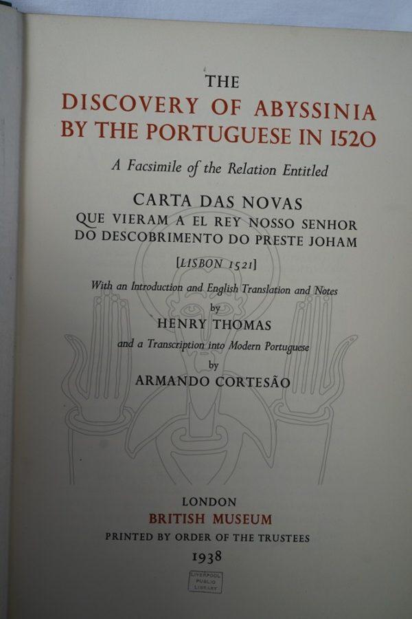THOMAS (Henry), CORTESAO (Armando).- The Discovery of Abyssinia