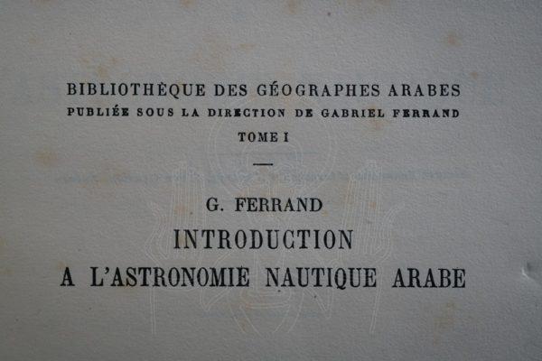 FERRAND Astronomie nautique arabe