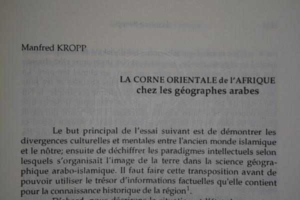 KROPP La Corne Orientale de l'Afrique chez les géographes arabes.