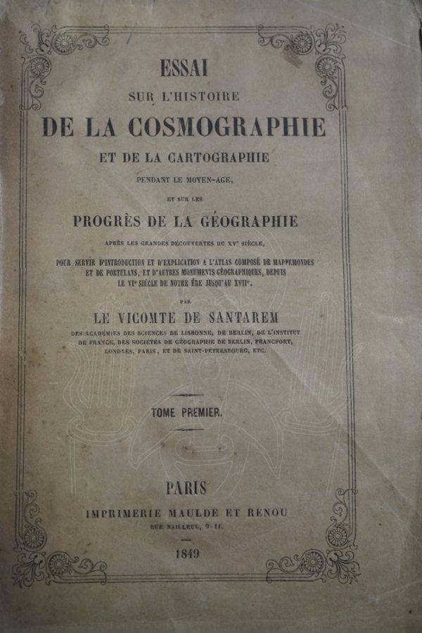SANTAREM Essai sur l'histoire de la cosmographie