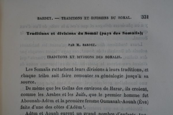 BARDEY Traditions et divisions du Somâl