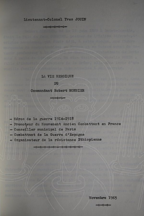 JOUIN La vie héroïque du Commandant Robert Monnier.