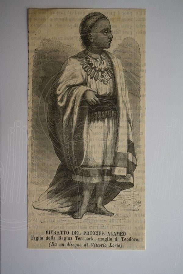 Ritratto del Principe Alameo. Figlio della Regina Terruark, moglie di Tedoro. (Da un disegno di Vittorio Lorie).